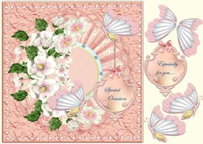 Pink Spring beauty on Craftsuprint designed by Marijke Kok - Gorgeous design in pink with lovely flowers and butterflies, a vintage tag on a elegant background. - Now available for download!