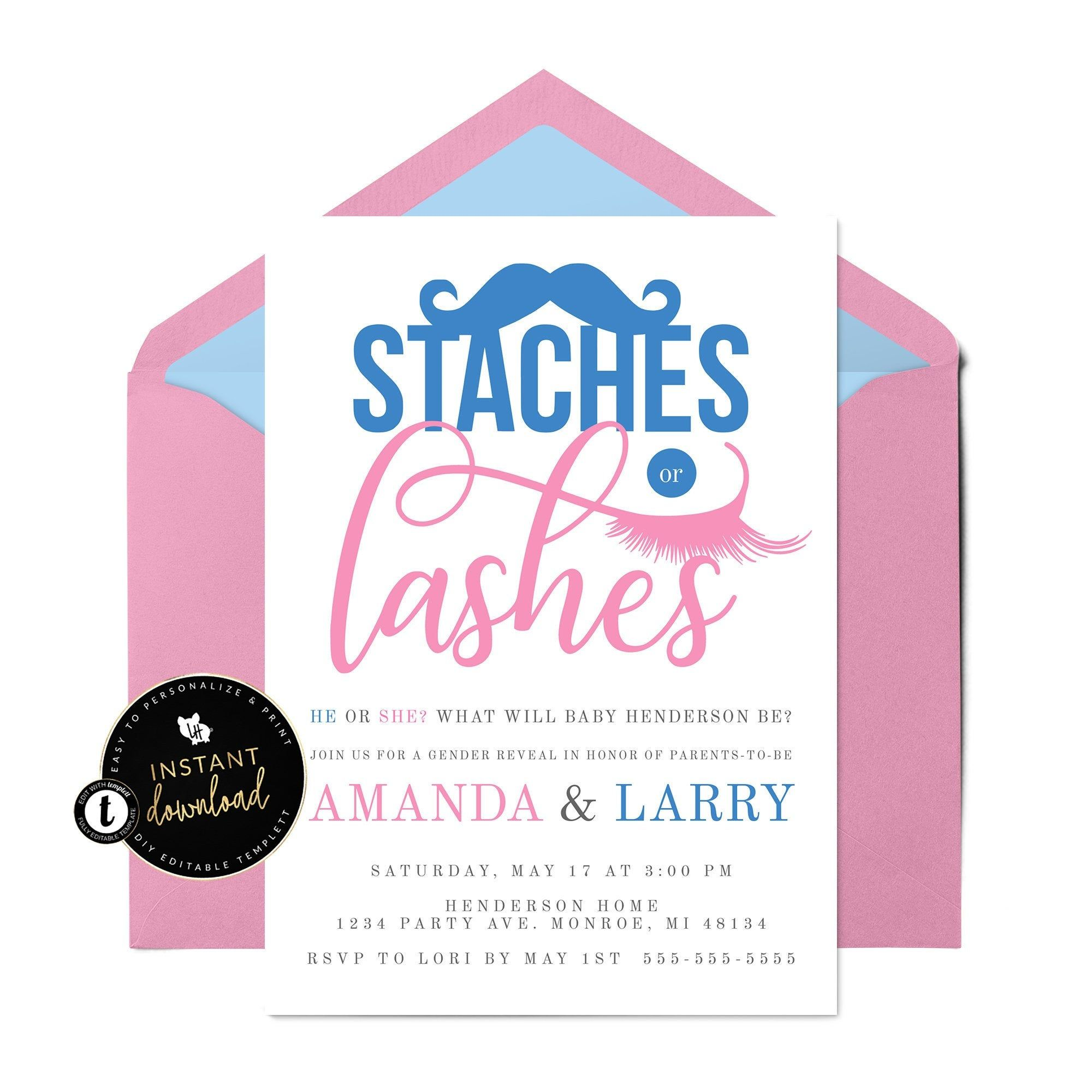 Staches Or Lashes Gender Reveal Invitation Gender Reveal Etsy Gender Reveal Invitations Gender Reveal Party Gender Reveal Party Invitations