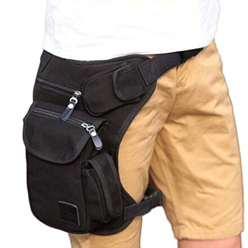 AutumnFall Multifunction Outdoor Sport Leg Bag Canvas Waist Bag Money Belt Fanny Pack (Black ) -- Check out this great product.