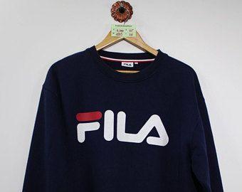 3b0def8d8d5b FILA SWEATSHIRT Fila Biella Italia Big Logo Dark Blue Fila Sports Pullover  Jumper Size LL