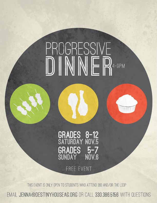 Youth Progressive Dinner Flyer Progressive dinner - Dinner Flyer