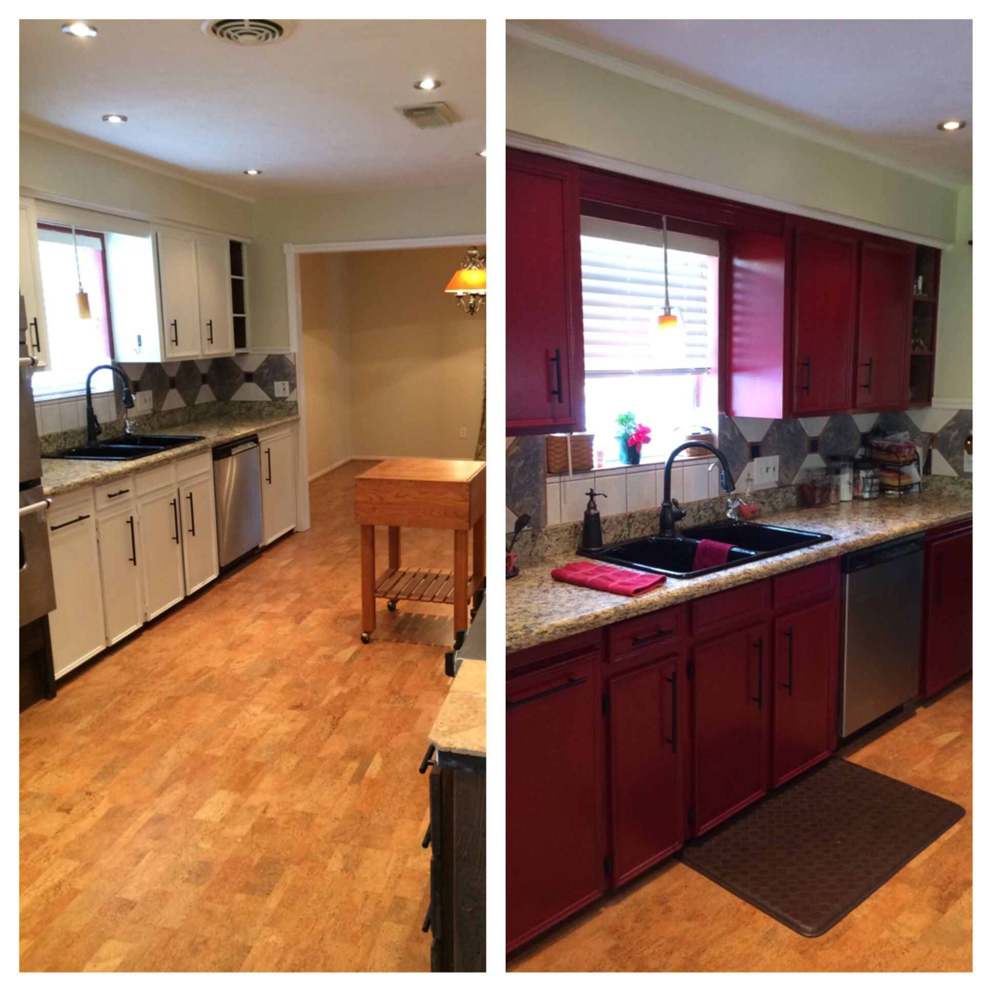 before and after finally painted my cabinets red and i love it kitchen cabinets kitchen on kitchen cabinets painted before and after id=16883