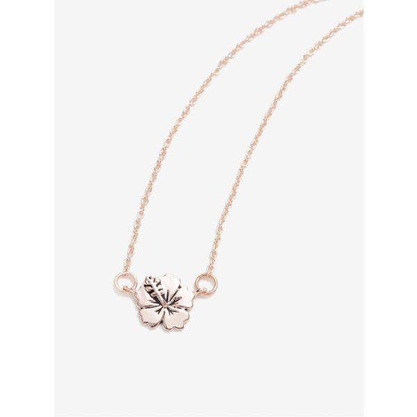 Disney Lilo Stitch Rose Gold Flower Necklace 17 liked on