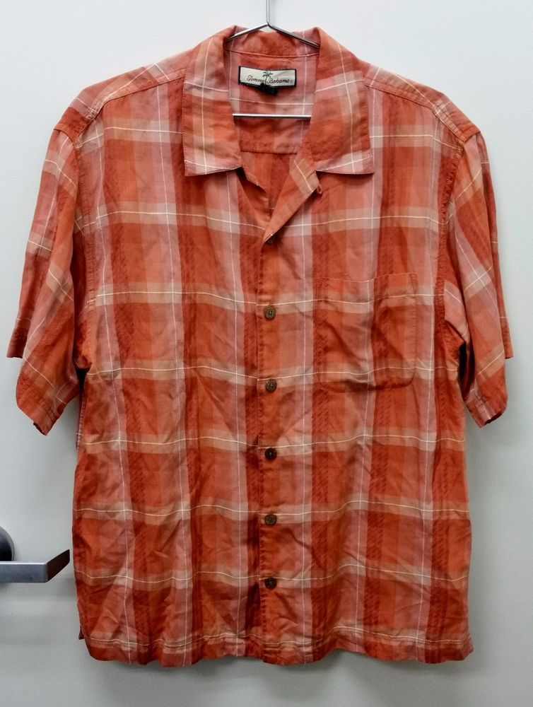 Men's Authentic Tommy Bahama Button Down Short Sleeve Shirt Size M Tencel Blend #TommyBahama #ButtonFront