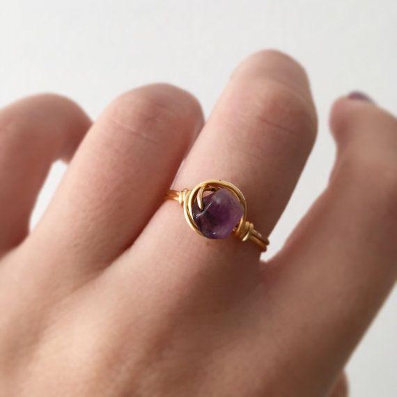 Gold Amethyst Ring • Amethyst Ring • Gemstone Ring • Gold Ring ...