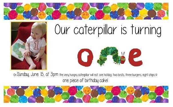 Very Hungry Caterpillar 1st birthday invitation