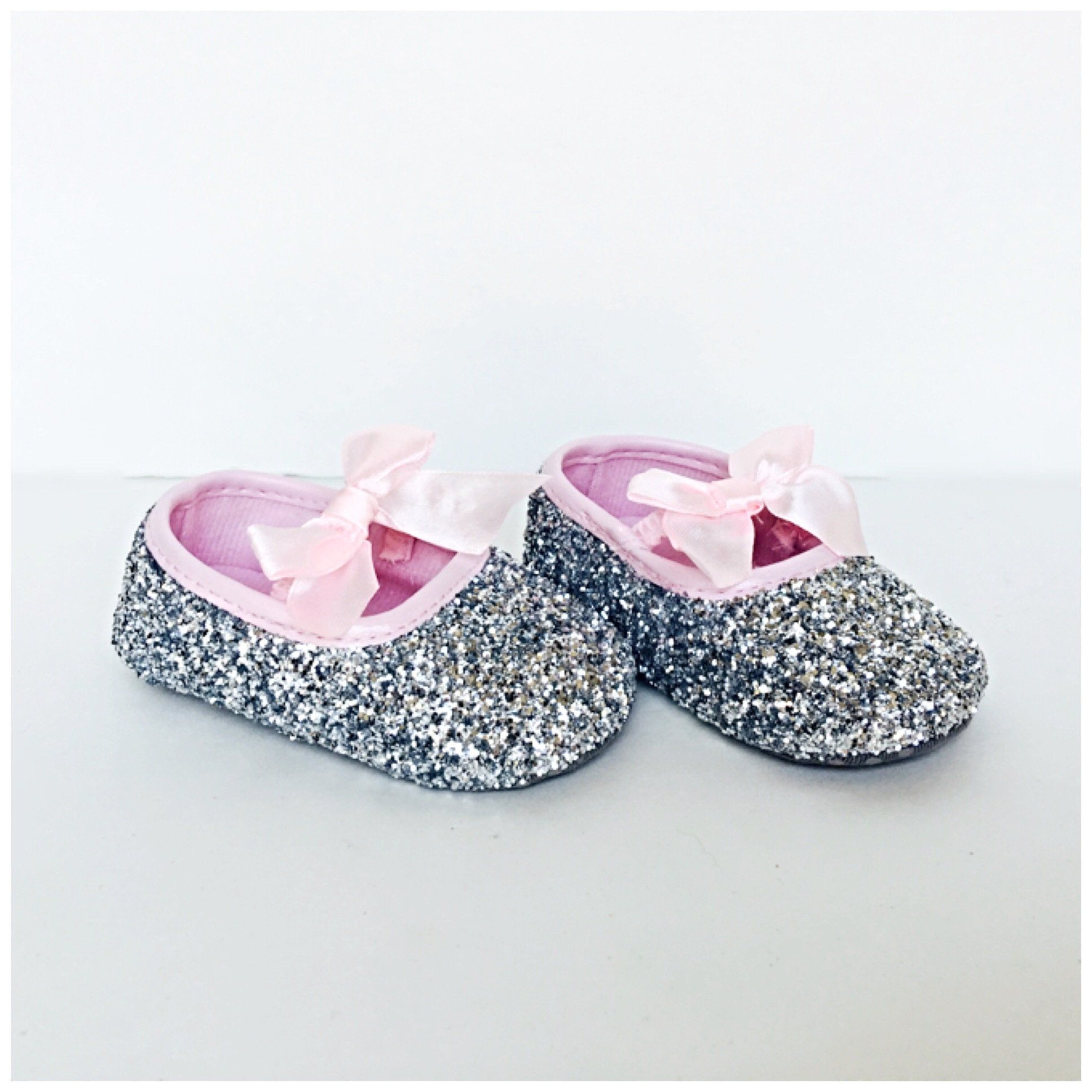 Silver Glitter Baby Shoes Pink Flower Girl Shoes
