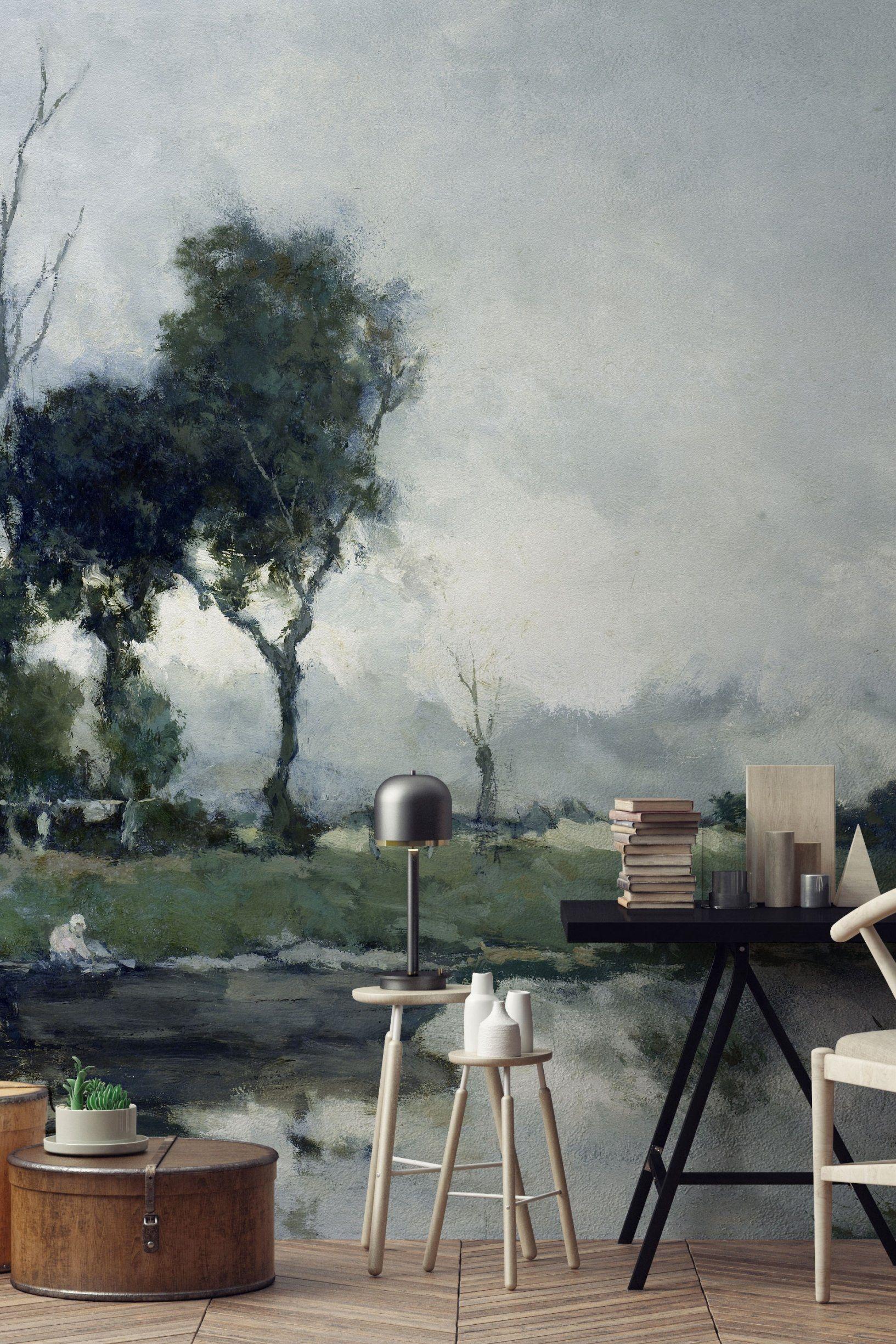 Papier Peint Panoramique Paysage papier peint nature aquarelle au fil des couleurs | papier