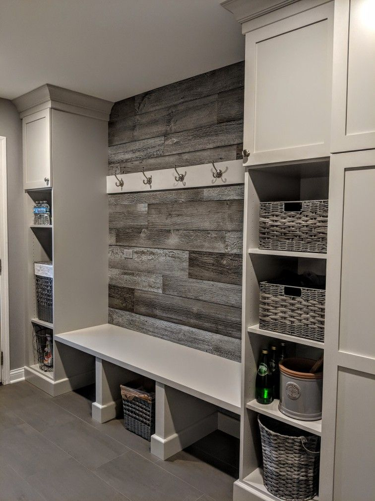 Laundry Room Storage Wall The Barnwood Is From Fauxlogic Designs