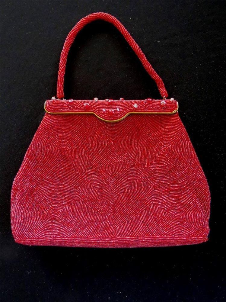02431014c4f38 Vintage 1960 s hand made hong kong labeled red beaded bag 10