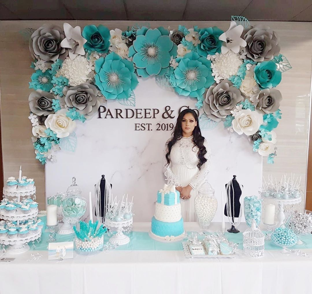 Tiffany blue themed Paper flower wall for such a gorgeous ...