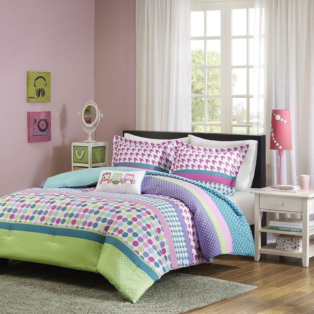 Girls teen bedding beautiful owls pink green polka dot
