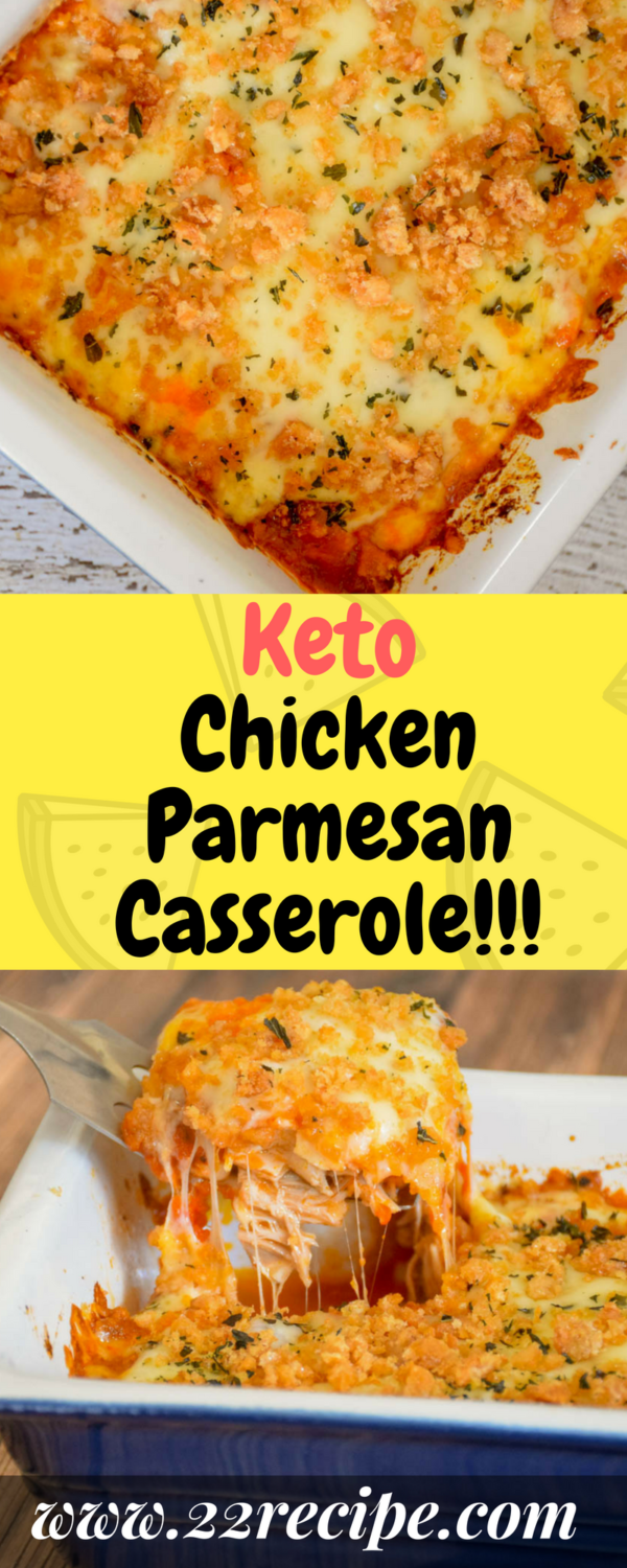 This Keto Chicken Parmesan Casserole is a super easy dinner recipe that's bursting with savory, #chickenparmesan