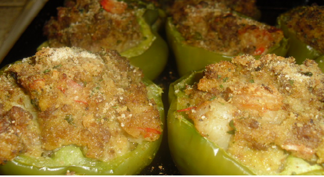 Blazing Shrimp Stuffed Peppers Recipe Recipe Stuffed Peppers Peppers Recipes Green Pepper Recipes