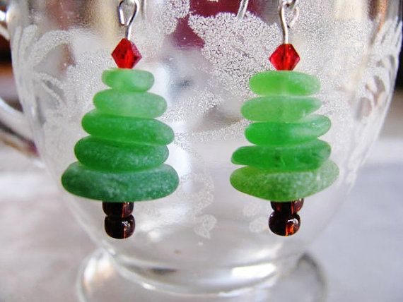 beach glass craft ideas tree earrings tree glass stacked 3428