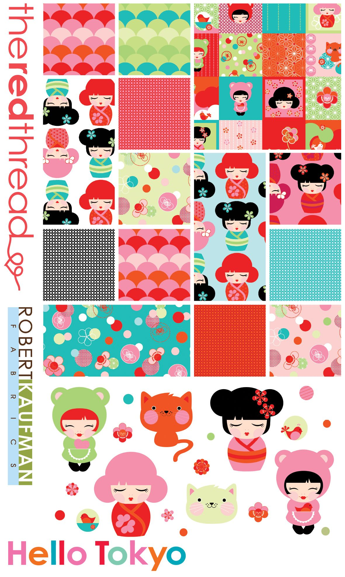 Hello Tokyo by The Red Thread and Robert Kaufman Fabrics.  Now in stock at www.fabricpixie.com.au