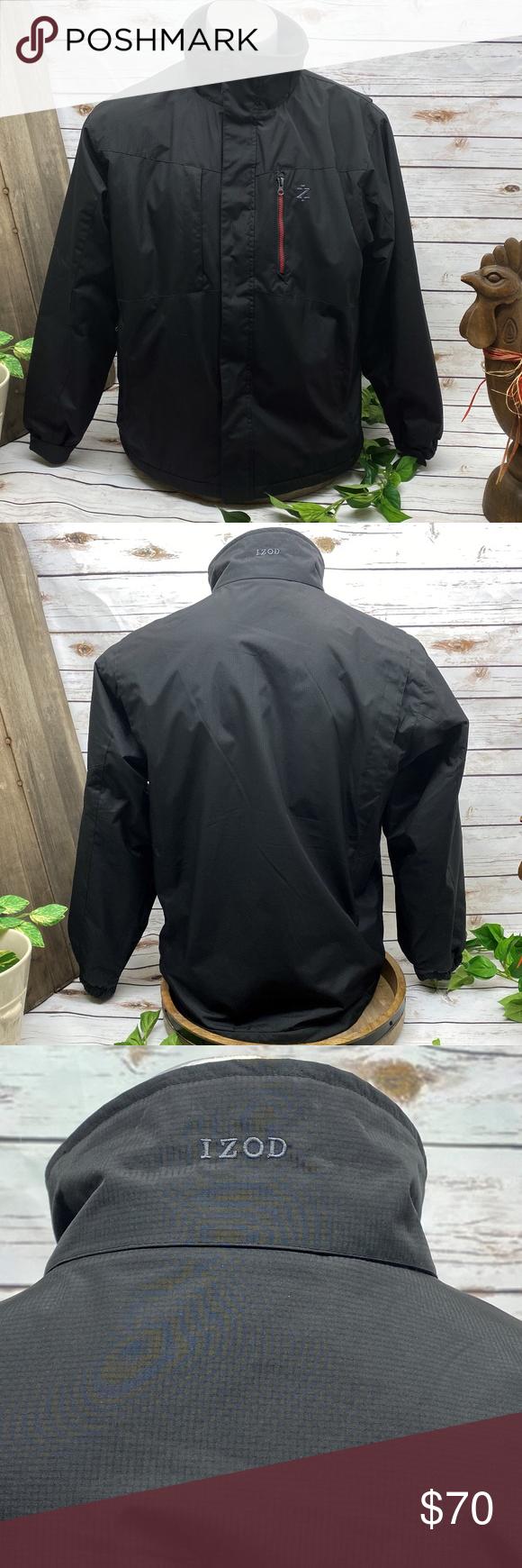 Izod Men S Perform X Jacket Black M Medium Men S Size Medium Izod Perform X Coat Fleece Lined For War Mens Fleece Jacket Wind Resistant Jacket Mens Vest Jacket [ 1740 x 580 Pixel ]