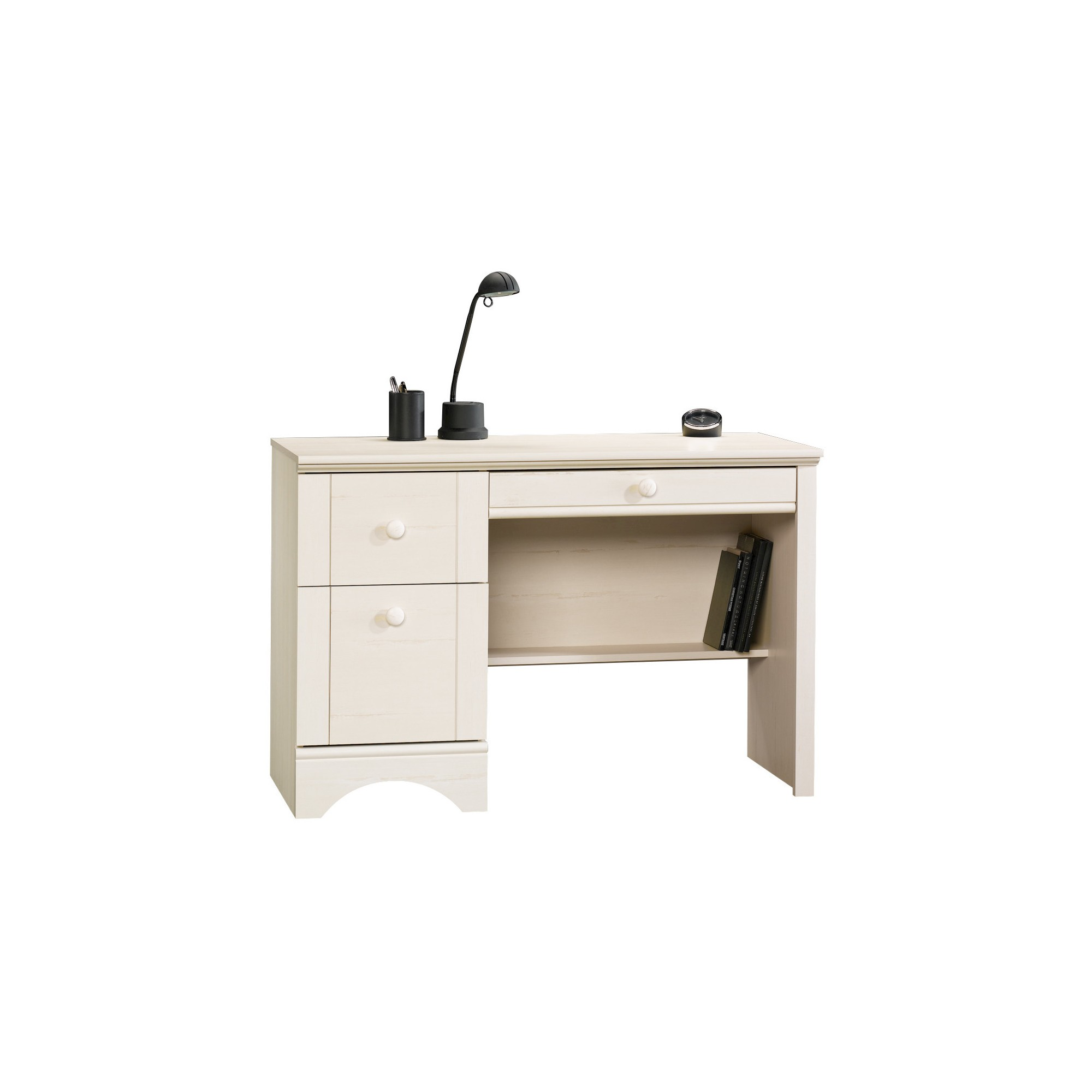 Harbor View 3 Drawer Computer Desk Antiqued White Sauder