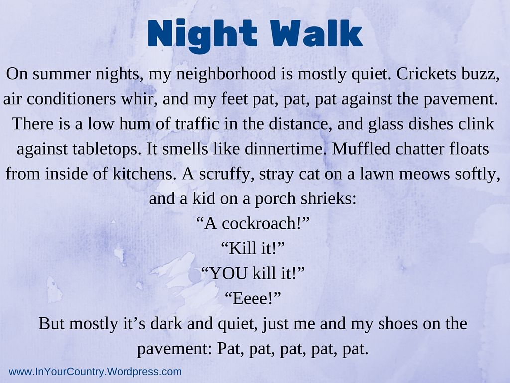 Night Walk A Descriptive Writing Lesson About Sounds In