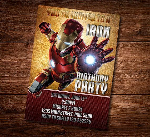 Iron Man Birthday Card Customized Birthday Theme by DonnaPrintART – Iron Man Birthday Card