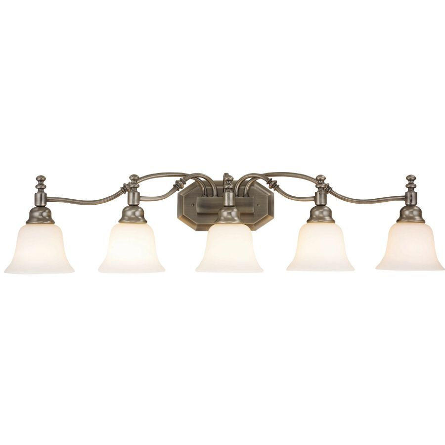 interesting bathroom light fixtures%0A Shop Portfolio  Light Madonna Antique Nickel Bathroom Vanity Light at  Lowes com