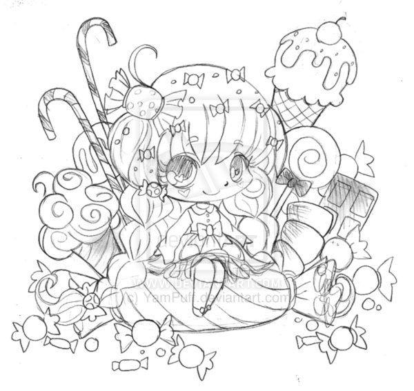 anime candy coloring pages - photo#29