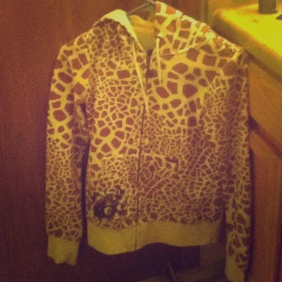 Giraffe print hoodie Mint condition, cute giraffe print hoodie :) Volcom Jackets & Coats