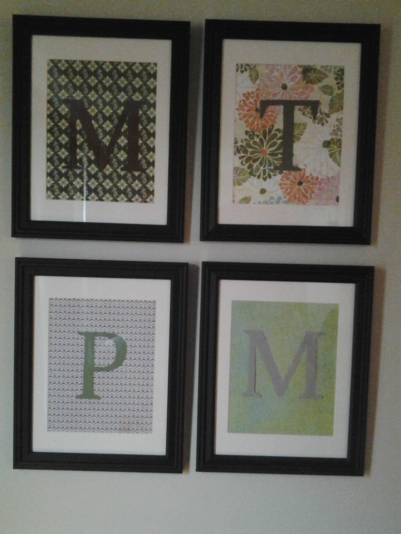 8 x 10 frames with scrapbook paper backgrounds and