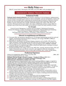 executive assistant resume sample http www resumecareer info
