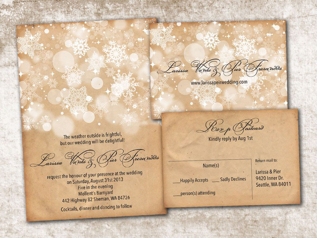 Wedding Invitation And Rsvp Card Suite Vintage Rustic White Winter Snow Flakes Personalised Double Sided Print