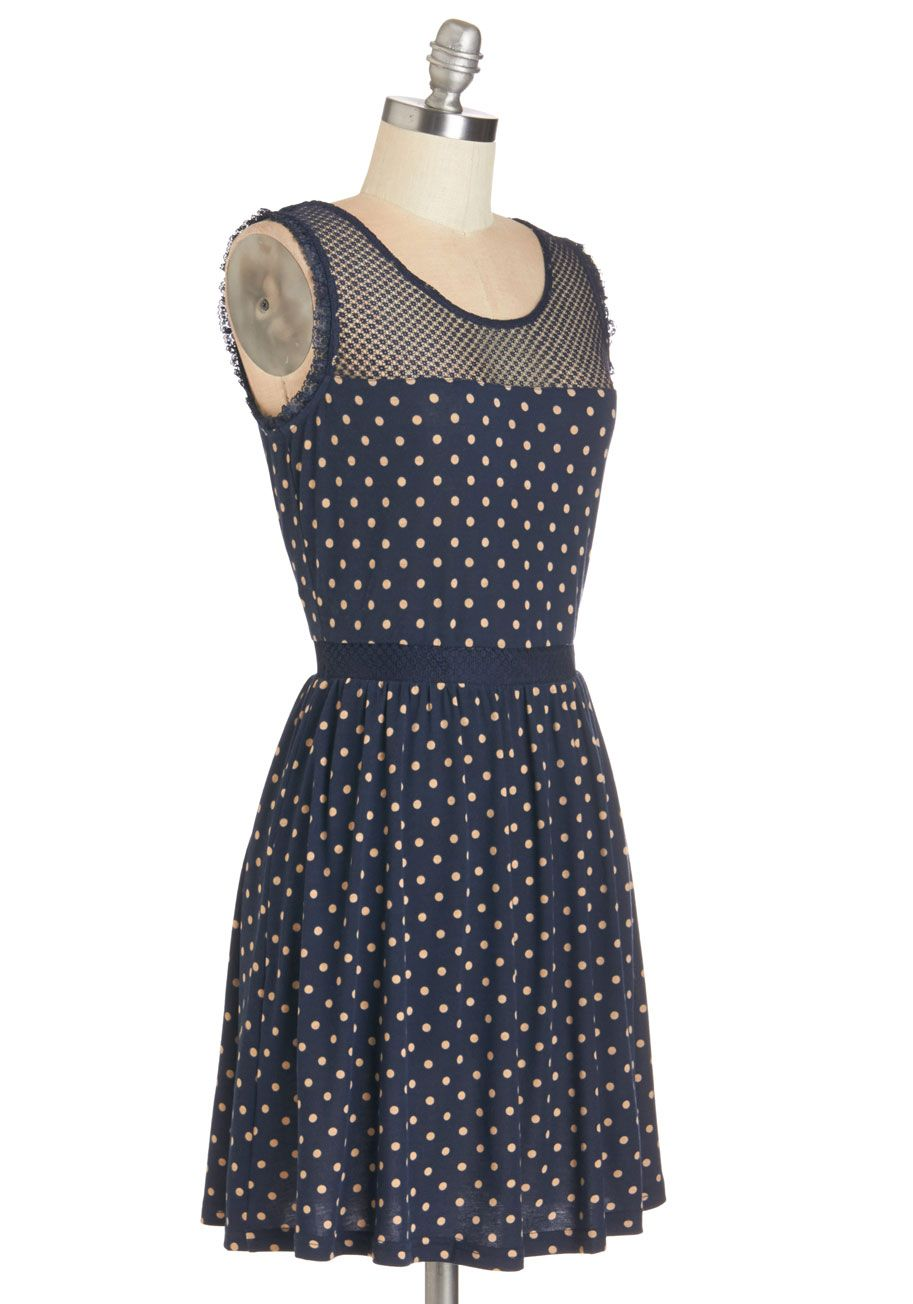 The Upbeat Goes On Dress. Its smiles all around each time you sport this spotted dress! #blue #modcloth