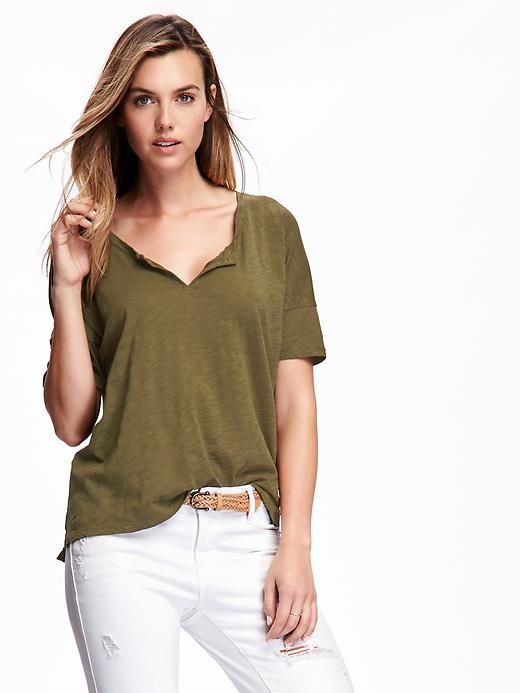 059611a4 Split-Neck Boyfriend Tee for Women | Stuff I want | Tees for women ...