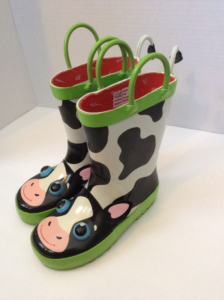 Sunny Patch Cow Rain Boots 8 9 Boy Girl Tail Ears Animal
