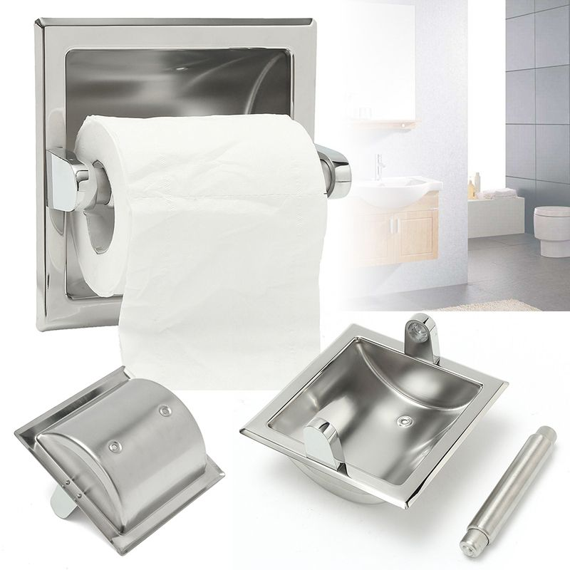 Recessed Toilet Paper Holder Tissue Brushed Nickel Loaded Roll Stand Home Bathroom Wall Mounted