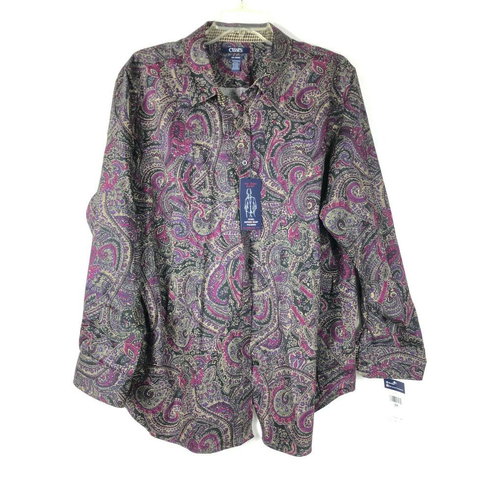 8370fca3e3ca93 Chaps NWT Women's Button Up Top Size 2X No Iron Shirt Slimming Fit Paisley  1025P #Chaps #Blouse #AnyOccasion