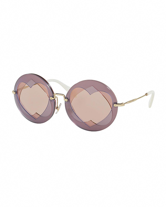 df7935de7b95 Round Layered Heart Sunglasses  MiuMiu Heart Sunglasses