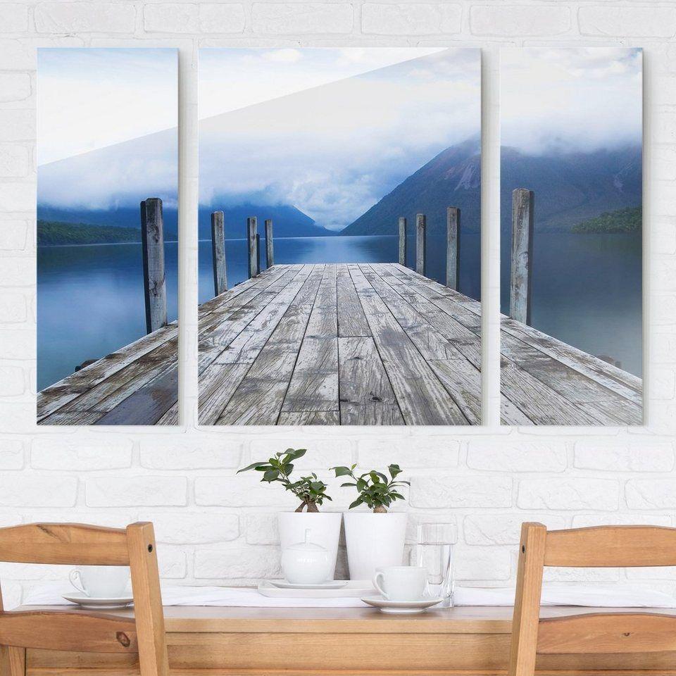 Bilderwelten Glasbild 3 Teilig Nelson Lakes National Park