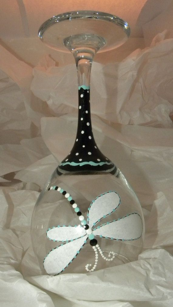 Dragonfly wine glass turquoise dragonfly wine glass for Painted wine glasses with initials