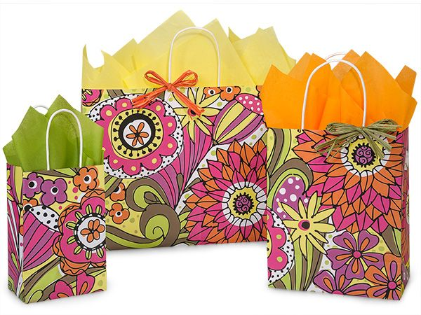 Nashville Wraps Doodle Garden Shopping Bag Assortment is made from 100% recycled white paper. Green Way® Eco-Friendly Packaging.