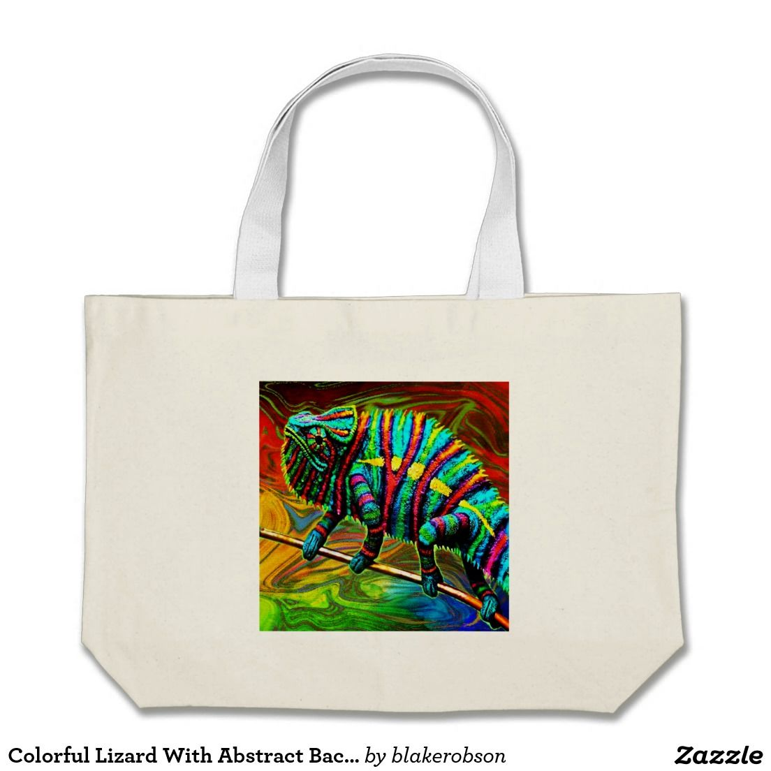 Colorful Lizard With Abstract Background Large Tote Bag | Colorful ...