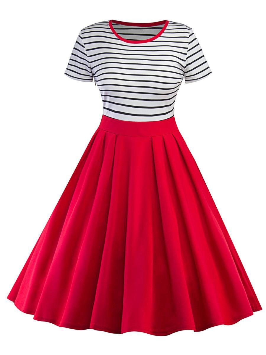 Fashionmia fashionmia round neck striped skater dress adorewe