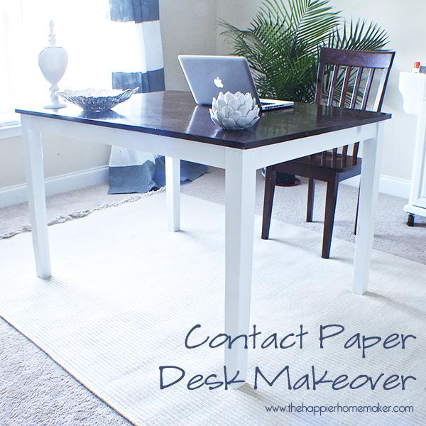 Contact Paper Desk Makeover Diy Home Decor Ideas Desk Makeover
