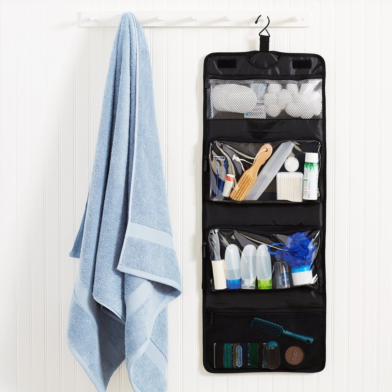 1ca3bf276100 Amazon.com  AmazonBasics Tri-Fold Hanging Cosmetics and Toiletry Kit   Clothing Tri