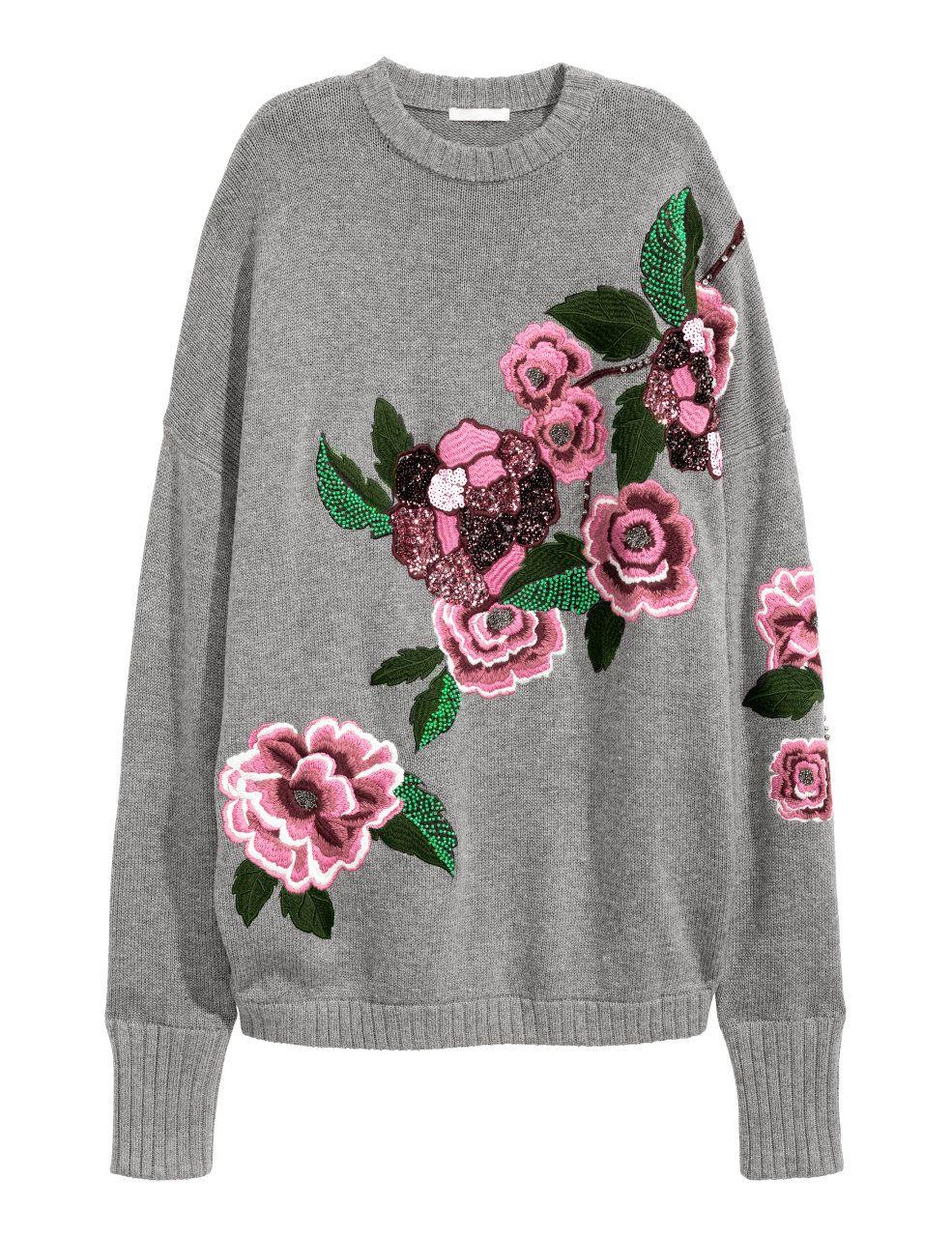 Grauer Pullover mit Rosen Print von H&M