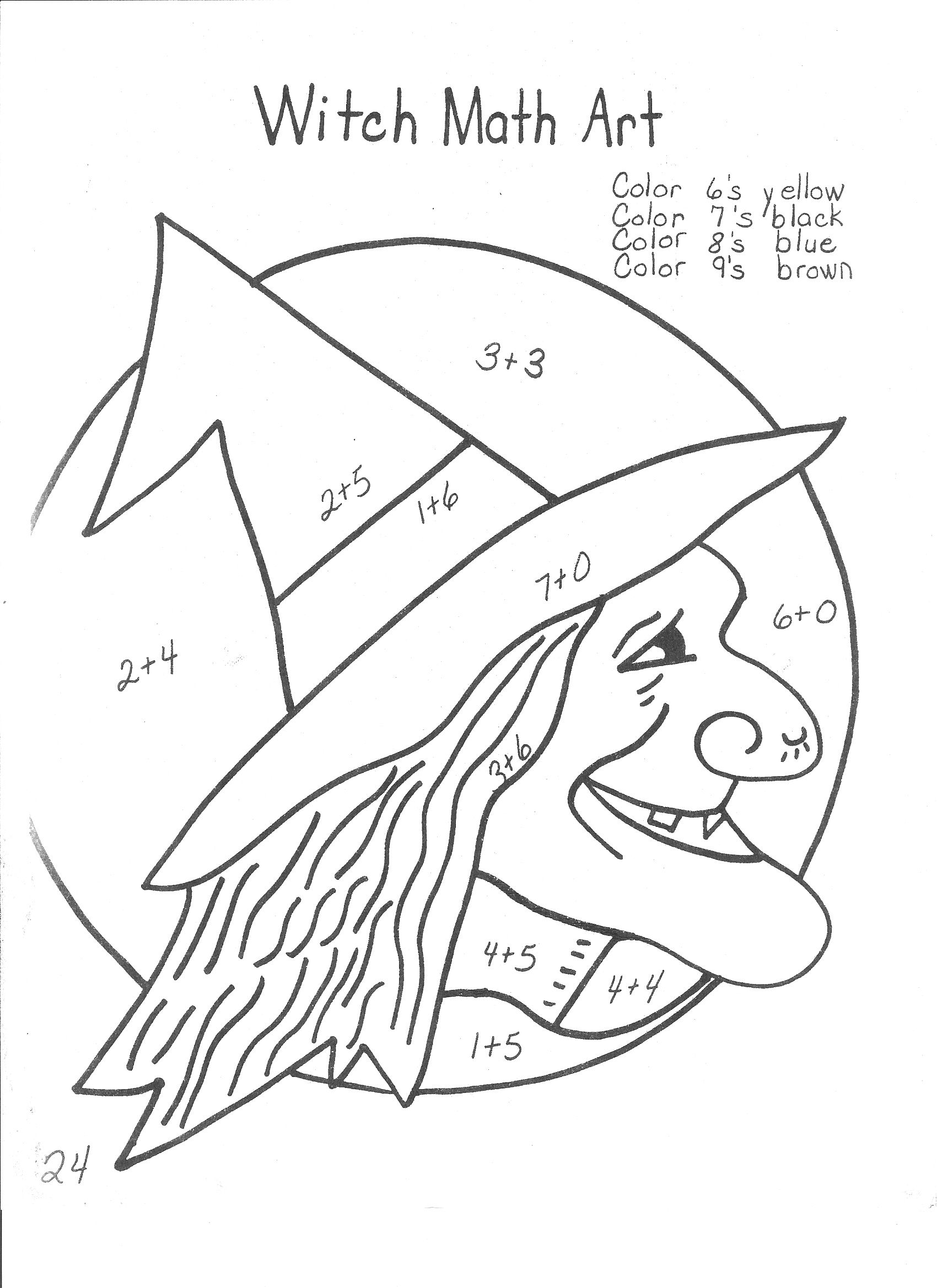 witches 13 days of halloween ideas the home teacher math coloring - Halloween Math Coloring Pages