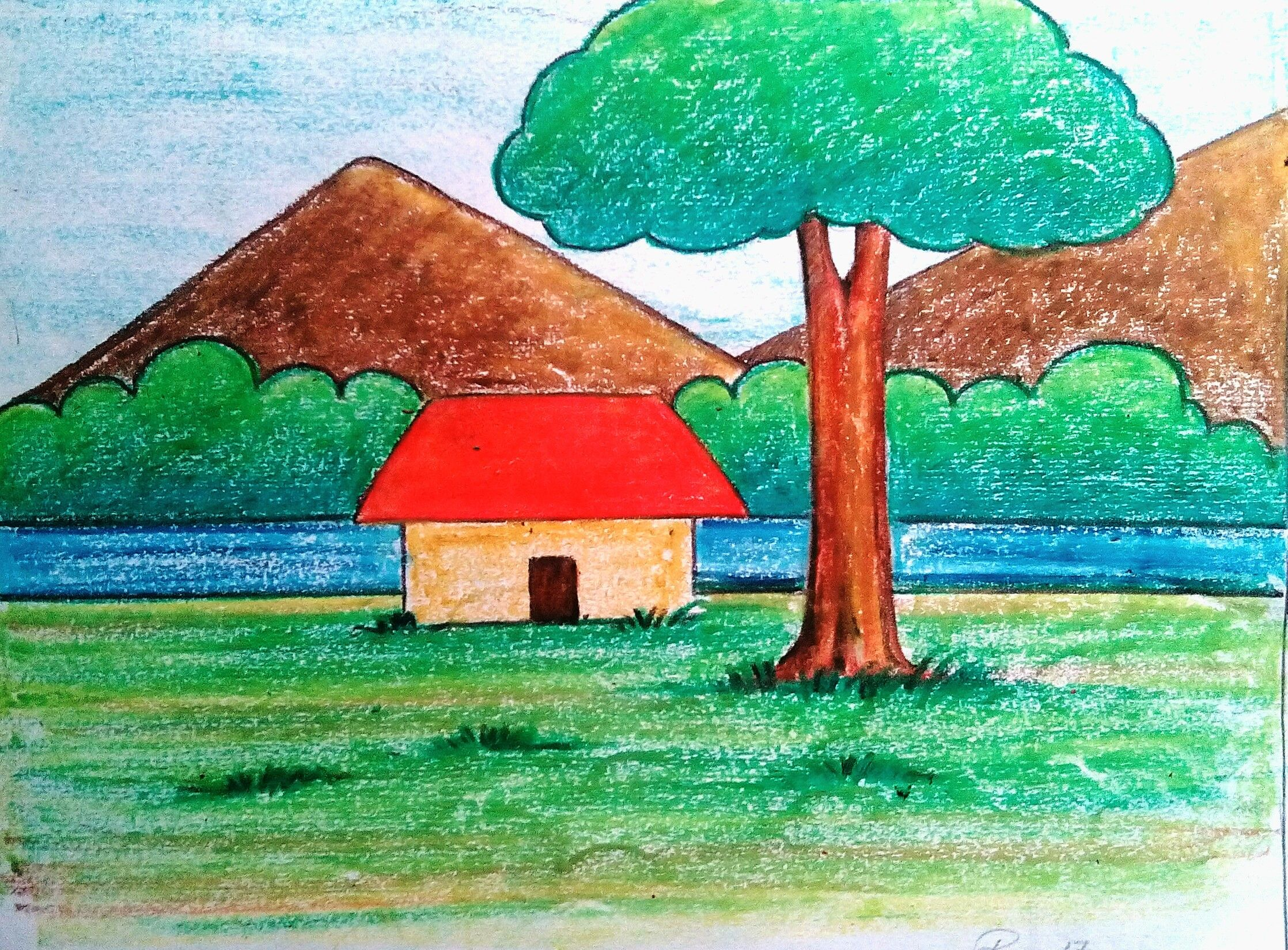 Easy Scenery Drawing Easy Scenery Drawing Scenery Drawing For