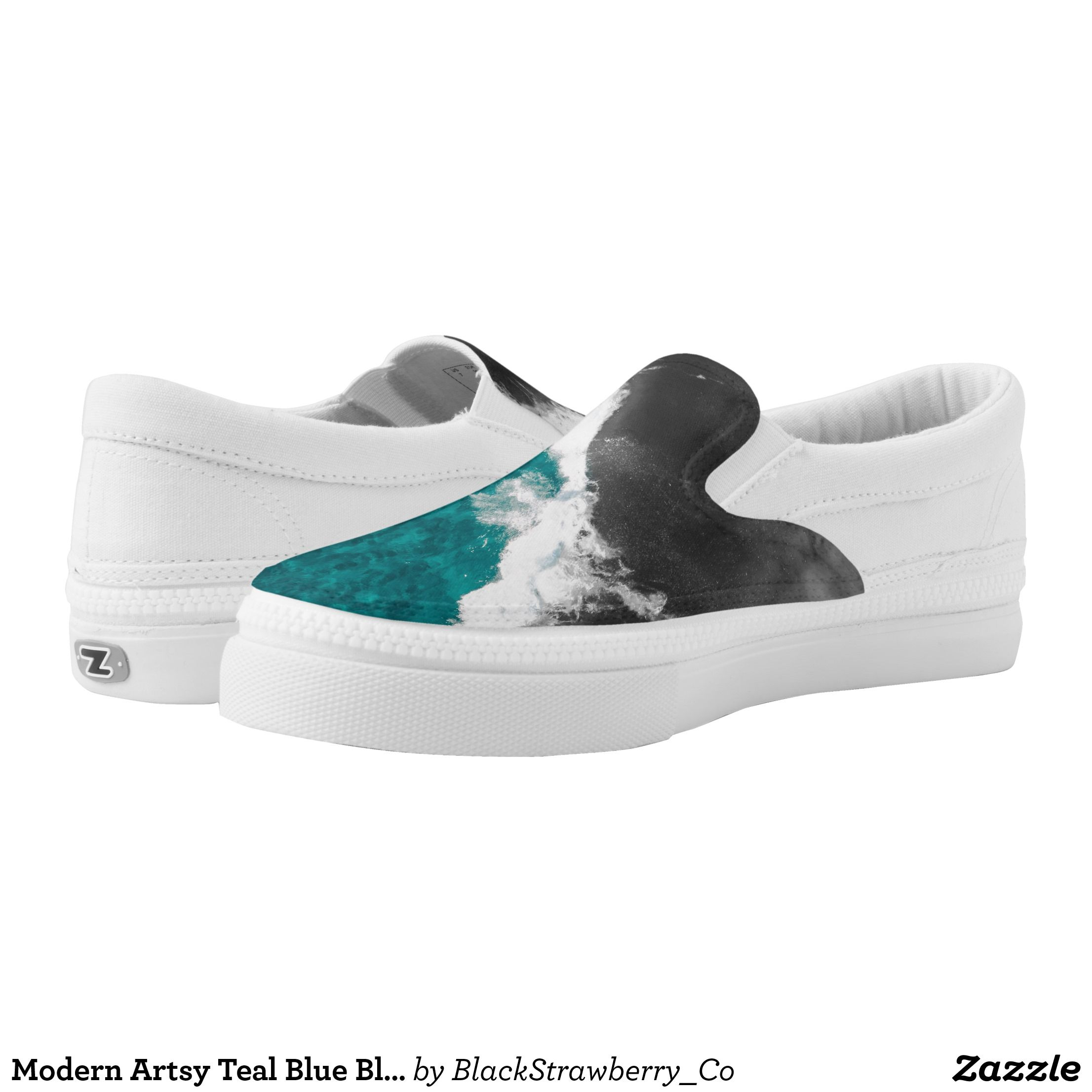 023a5cd7a373 Modern Artsy Teal Blue Black Ocean Beach Waves Slip-On Sneakers -  Canvas-Top Rubber-Sole Athletic Shoes By Talented Fashion And Graphic  Designers -  shoes ...