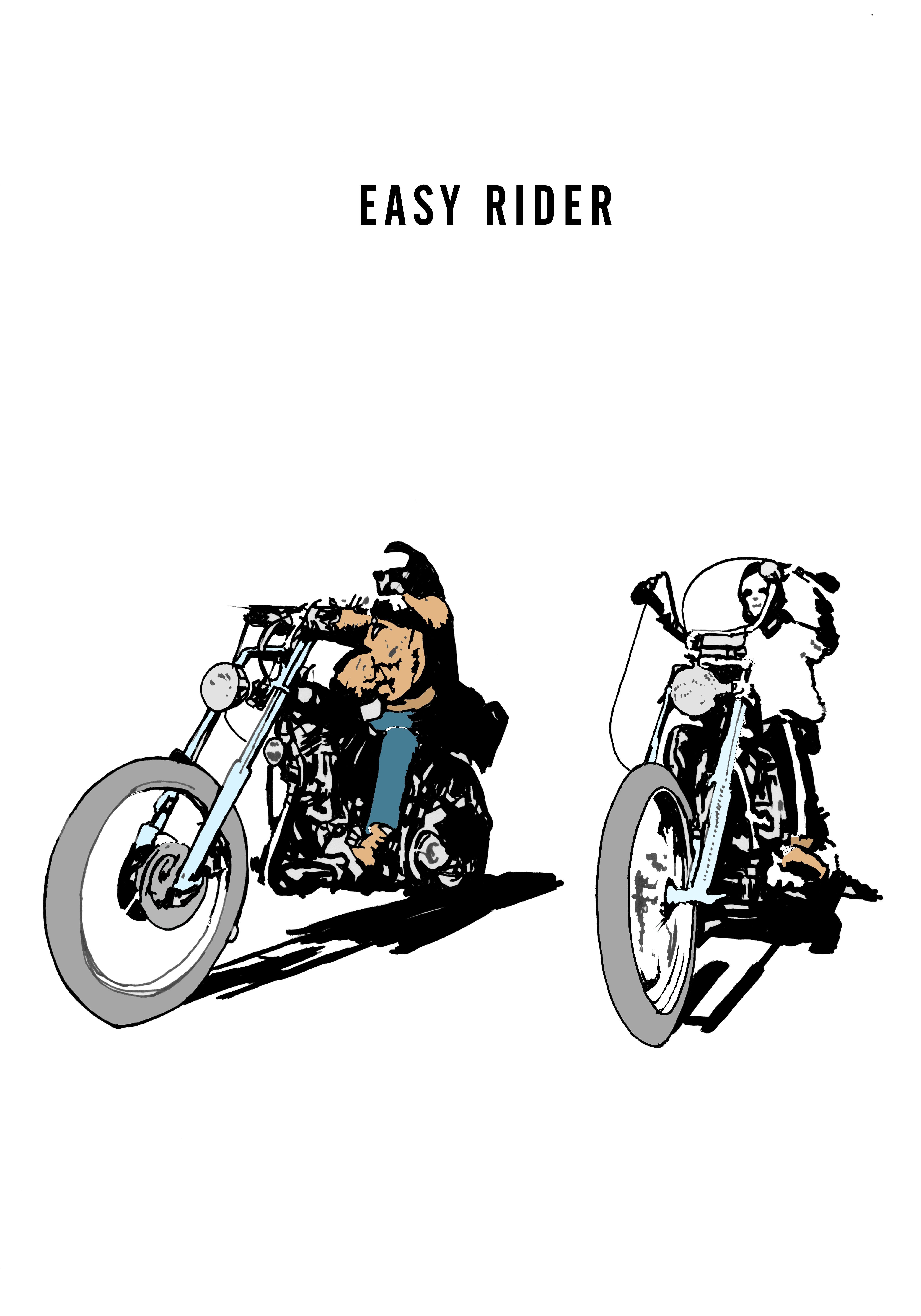 Easy Rider Draw Easyrider Movie Poster Motorcycle Illustration