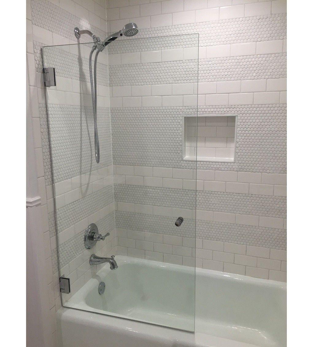 58 X 34 Frameless Hinged Gl Bath Tub Door Bathroom