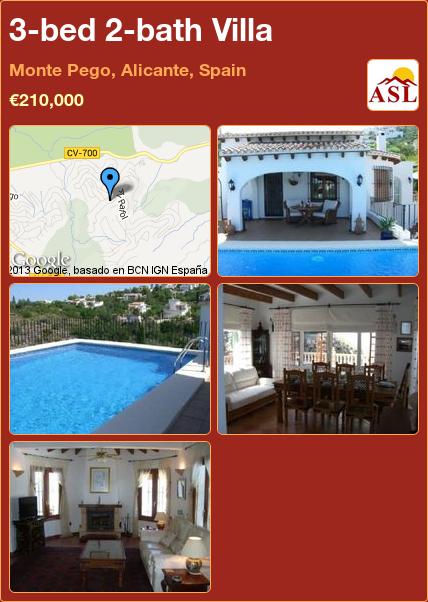 3-bed 2-bath Villa in Monte Pego, Alicante, Spain ►€210,000 #PropertyForSaleInSpain